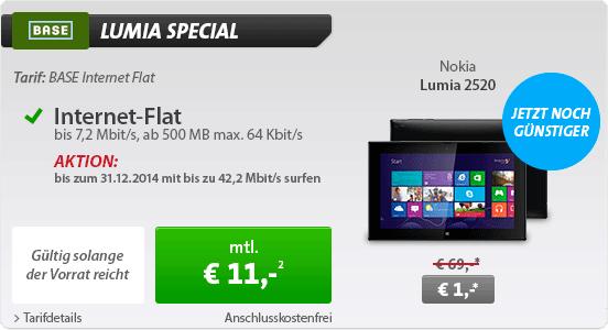 BASE Internet Flat mit Nokia Lumia 2520