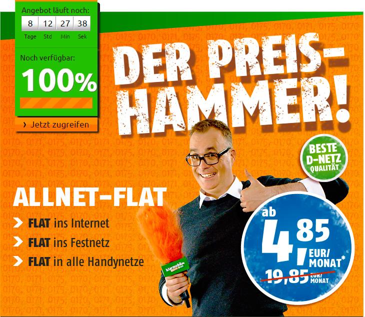crash-tarife AllNet-Flat für nur 4,85 €/Monat