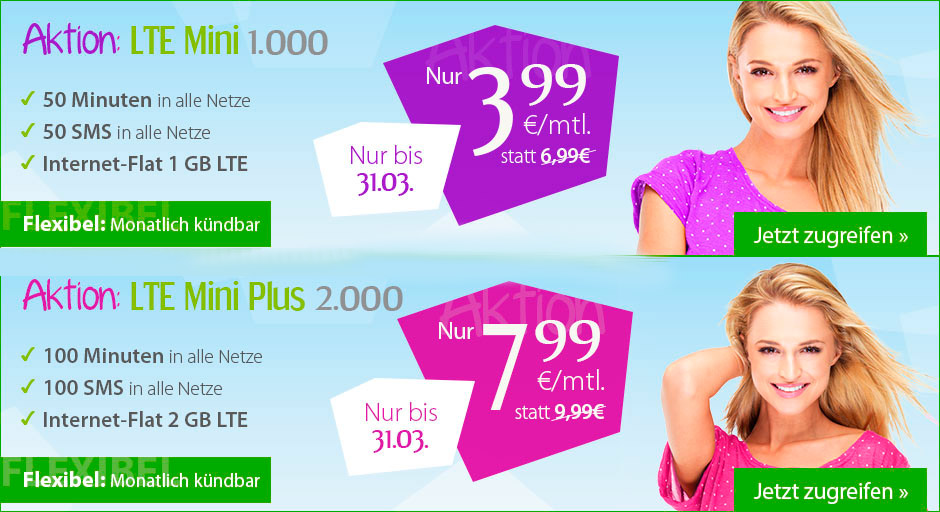 winSIM LTE mini 1000 und LTE mini plus 2000