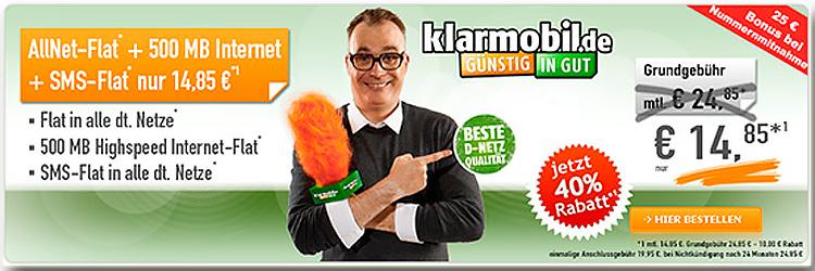 handybude Klarmobil Allnet Spar-Flat 500 MB