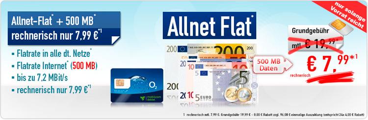 mobilcom debitel Allnet-Flat und 500 MB Daten