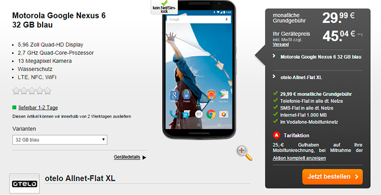 Handyflash: Motorola Google Nexus 6 mit Allnet-Flat