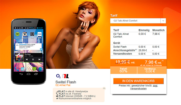 Mediaspar: Allnet-Flat + Switel Flash Smartphone