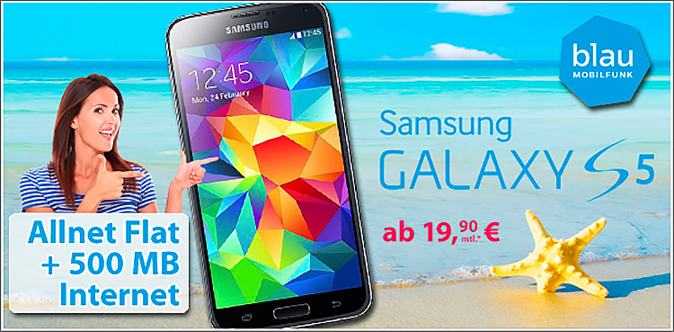 mobildiscounter Blau.de Allnet-Flat und Samsung Galaxy S5
