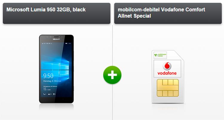 modeo Microsoft Lumia 950 (32 GB) und Vodafone Comfort Allnet