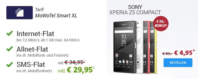 MoWoTel Smart XL + Sony Xperia Z5 Compact