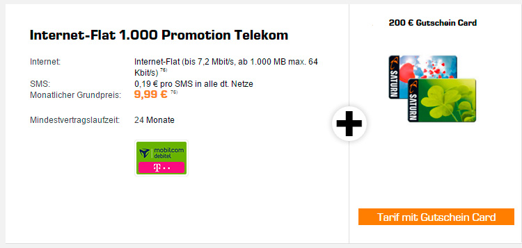 Saturn Internet-Flat 1000 Promotion