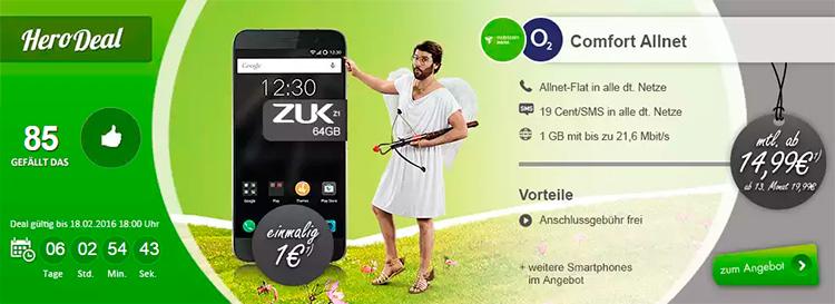 modeo ZUK Z1 mit o2 Comfort Allnet